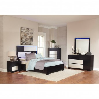 Coaster Havering 5pc Black and Sterling Queen Platform Bedroom Group Available Online in Dallas Fort Worth Texas