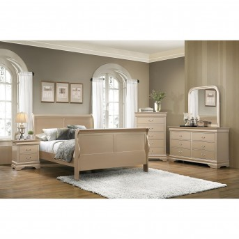 Coaster Hershel 5pc Metallic Champagne Full Panel Bedroom Group Available Online in Dallas Fort Worth Texas