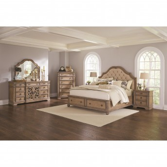Coaster Ilana 5pc Antique Linen King Panel Storage Bedroom Group Available Online in Dallas Fort Worth Texas