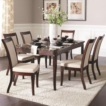 Coaster Cornett 7pc Dark Brown Dining Table Set Available Online in Dallas Fort Worth Texas