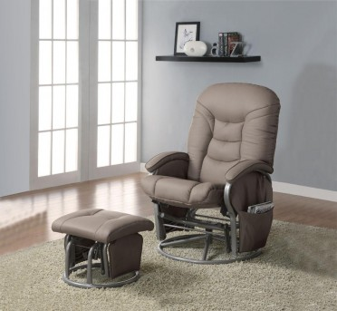 Coaster Mark Beige Glider Recliner with Matching Ottoman Available Online in Dallas Fort Worth Texas