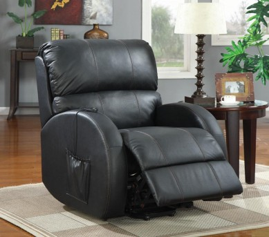 Coaster Georgia BlackTop Grain Leather Power Lift Recliner Available Online in Dallas Fort Worth Texas