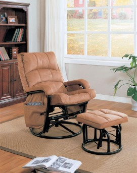 Coaster Dia Brown Glider Recliner with Matching Ottoman Available Online in Dallas Fort Worth Texas