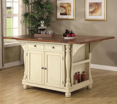 Coaster Carter Two-Tone Kitchen Island with Drop Leaves Available Online in Dallas Fort Worth Texas
