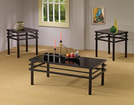 Coaster Tiffany 3pc Black Coffee Table Set Available Online in Dallas Fort Worth Texas