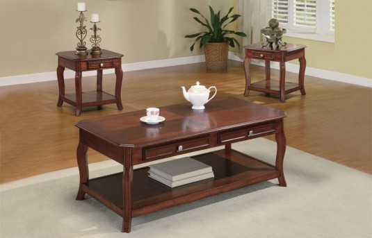 Coaster Graceful Cherry 3pc Coffee Table Set Available Online in Dallas Fort Worth Texas