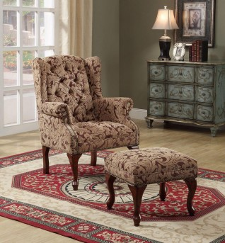 Coaster Damalown Brown Tufted Wing Chair with Ottoman Available Online in Dallas Fort Worth Texas