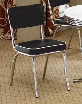 Coaster Cleveland Chrome Plated Black Side Chair Available Online in Dallas Fort Worth Texas