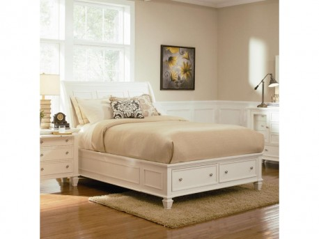 Coaster Sandy Beach White Cal King Sleigh Storage Bed Available Online in Dallas Fort Worth Texas