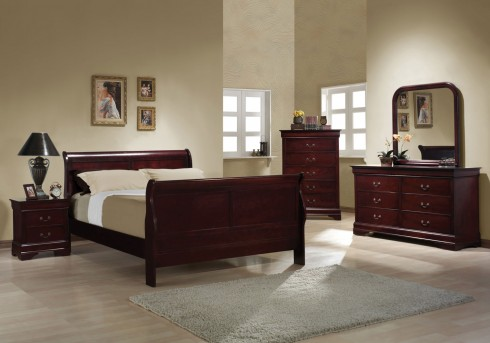 Coaster Louis Philippe Cherry Queen Sleigh Bed Available Online in Dallas Fort Worth Texas