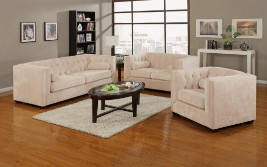 Coaster Alexis Almond Sofa & Loveseat Set Available Online in Dallas Fort Worth Texas