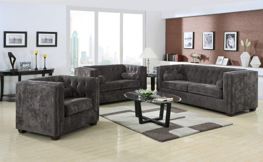 Coaster Alexis Charcoal Sofa & Loveseat Set Available Online in Dallas Fort Worth Texas