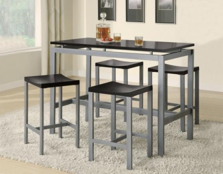 Coaster Atlas 5pc Black/Silver Counter Height Dining Set Available Online in Dallas Fort Worth Texas
