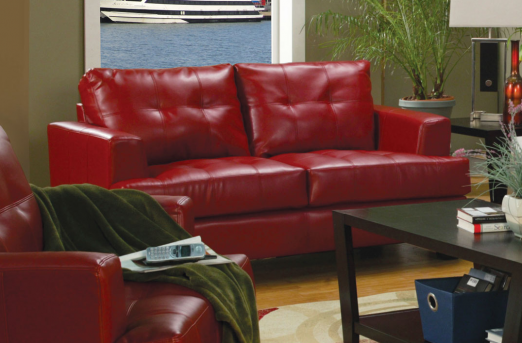 Coaster Samuel Red Loveseat Available Online in Dallas Fort Worth Texas
