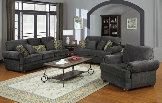 Coaster Colton Smokey Grey Sofa & Loveseat Set Available Online in Dallas Fort Worth Texas
