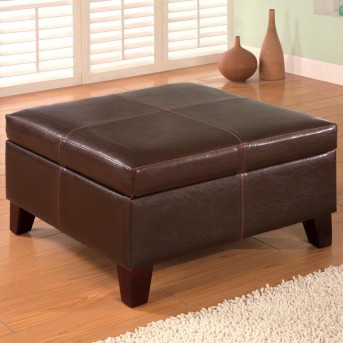 Coaster St.Claire Dark Brown Square Faux Leather Storage Ottoman Available Online in Dallas Fort Worth Texas