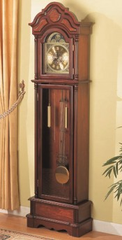 Coaster Classic Brown Cherry Grandfather Clock Available Online in Dallas Fort Worth Texas