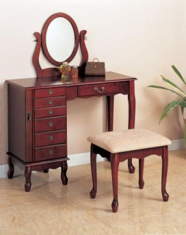 Coaster Oval 2pc Cherry Vanity Set Available Online in Dallas Fort Worth Texas
