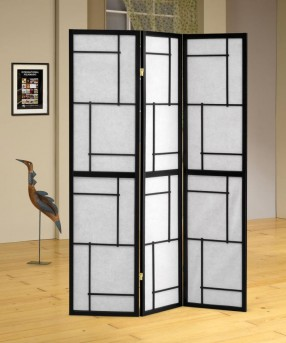 Coaster Graphite Black Three Panel Folding Floor Screen Available Online in Dallas Fort Worth Texas