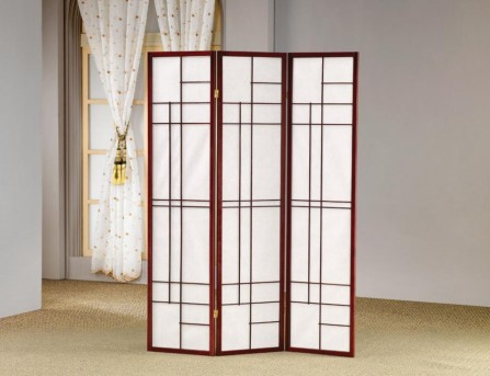 Coaster Graphite Brown Red Three Panel Folding Floor Screen Available Online in Dallas Fort Worth Texas