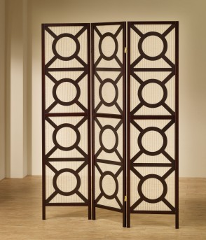 Coaster Wilson Cappuccino Circle Pattern Folding Screen Available Online in Dallas Fort Worth Texas