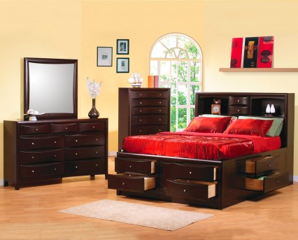 Coaster Phoenix Queen 5pc Bookcase Storage Bedroom Group Available Online in Dallas Fort Worth Texas
