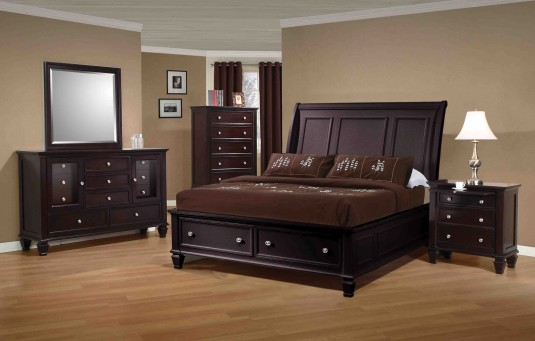 Sandy Beach Cappuccino 5pc Queen Storage Bedroom Group Available Online in Dallas Fort Worth Texas