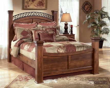 Ashley Timberline Queen Poster Bed Available Online in Dallas Fort Worth Texas
