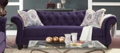 FOA Furniture Of America Antoinette Purple Sofa Available Online in Dallas Fort Worth Texas