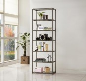 Garson Grey Metal Bookcase with Glass Shelves Available Online in Dallas Fort Worth Texas