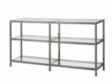 Garson Gray Metal Bookcase/Console with Glass Shelves Available Online in Dallas Fort Worth Texas