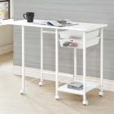 Coaster Razor White Folding Desk with Caster Available Online in Dallas Fort Worth Texas