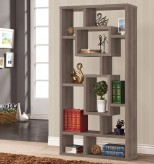 Pergola Weathered Grey Geometric Cubed Rectangular Bookcase Available Online in Dallas Fort Worth Texas