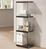 Coaster Enedina Glossy Black Bookcase with Glass Shelves and Side Panel Available Online in Dallas Fort Worth Texas