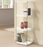 Coaster Enedina Glossy White Bookcase with Glass Shelves and Side Panel Available Online in Dallas Fort Worth Texas