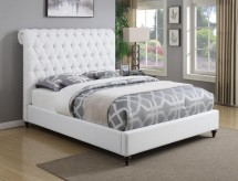 Coaster Devon White King Platform Upholstered Bed Available Online in Dallas Fort Worth Texas