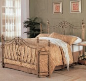 Sydney Antique Gold Metal King Bed Available Online in Dallas Fort Worth Texas
