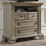 Orleans II Antiqued White Media Chest Available Online in Dallas Fort Worth Texas