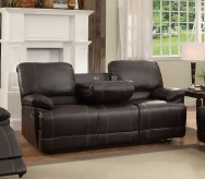 Homelegance Cassville Dark Brown Double Reclining Sofa with Center Drop-Down Cup Holders Available Online in Dallas Fort Worth Texas