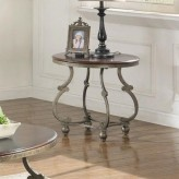 Coaster Jabard Cherry Brown & Antique Pewter End Table Available Online in Dallas Fort Worth Texas