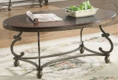 Coaster Jabard Cherry Brown & Antique Pewter Coffee Table Available Online in Dallas Fort Worth Texas