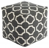 Ashley Geometric White & Gray Pouf Available Online in Dallas Fort Worth Texas