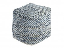 Ashley Chevron Blue Pouf Available Online in Dallas Fort Worth Texas