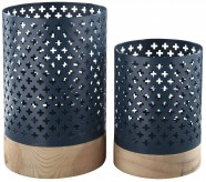 Ashley Daichi Navy & Natural Candle Holder Set of 2 Available Online in Dallas Fort Worth Texas