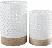 Ashley Daichi White & Natural Candle Holder Set of 2 Available Online in Dallas Fort Worth Texas