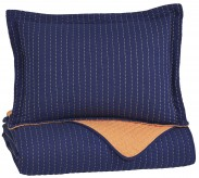 Ashley Dansby Navy and Orange Twin Coverlet Set Available Online in Dallas Fort Worth Texas