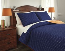 Ashley Dansby Navy and Orange Full Coverlet Set Available Online in Dallas Fort Worth Texas