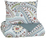 Ashley Danniell Aqua and Orange Twin Comforter Set Available Online in Dallas Fort Worth Texas