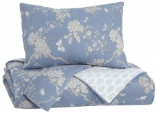 Ashley Damita Blue and Beige Queen Quilt Set Available Online in Dallas Fort Worth Texas