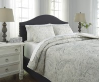 Ashley Darcila Sage Green and Cream Queen Coverlet Set Available Online in Dallas Fort Worth Texas